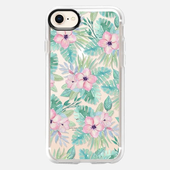 Blush pink green watercolor tropical floral - Snap Case