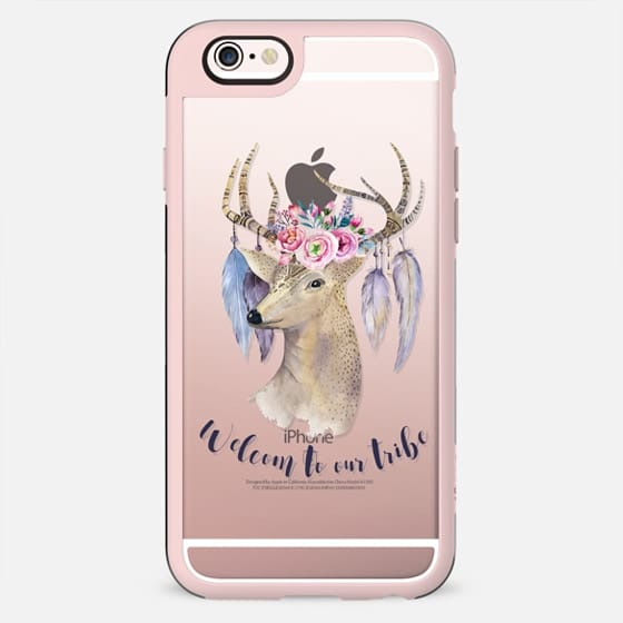 Bohemian deer pink watercolor floral typography - New Standard Case