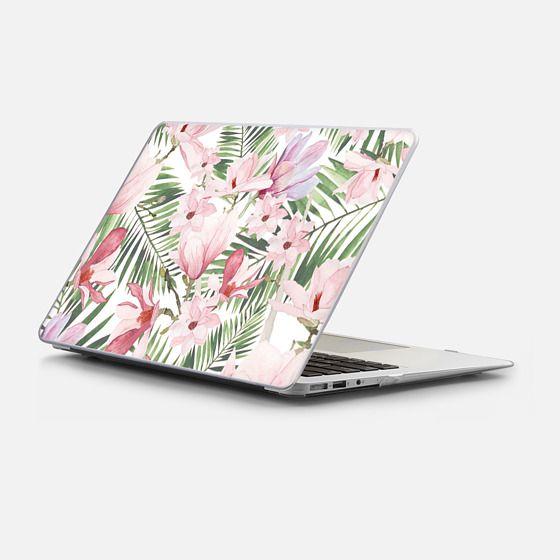 Macbook Air 13 Case - Blush pink lavender green watercolor tropical floral