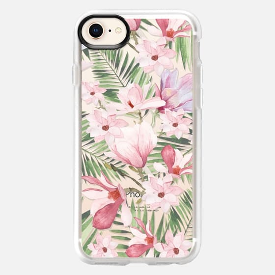 iPhone 8 保护壳 - Blush pink lavender green watercolor tropical floral