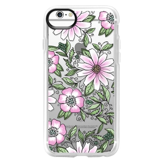 iPhone 6s 케이스 - Blush pink green watercolor hand painted floral