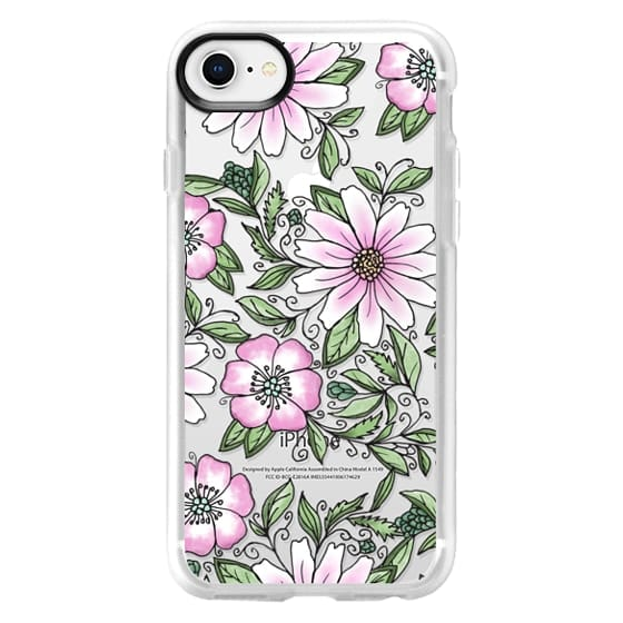 iPhone 8 케이스 - Blush pink green watercolor hand painted floral