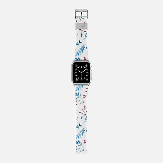 Pink blue watercolor hand painted country flowers -