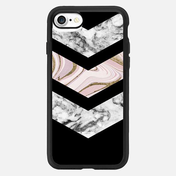 Modern black white pink faux gold chevron marble -
