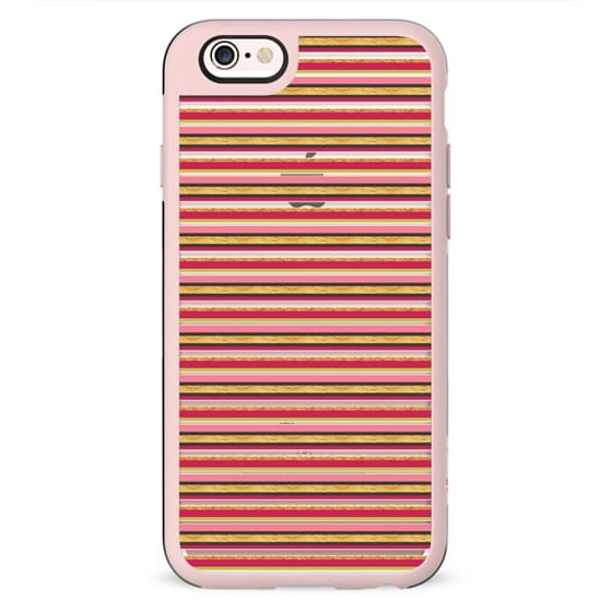 Chic modern pink faux gold trendy striped pattern