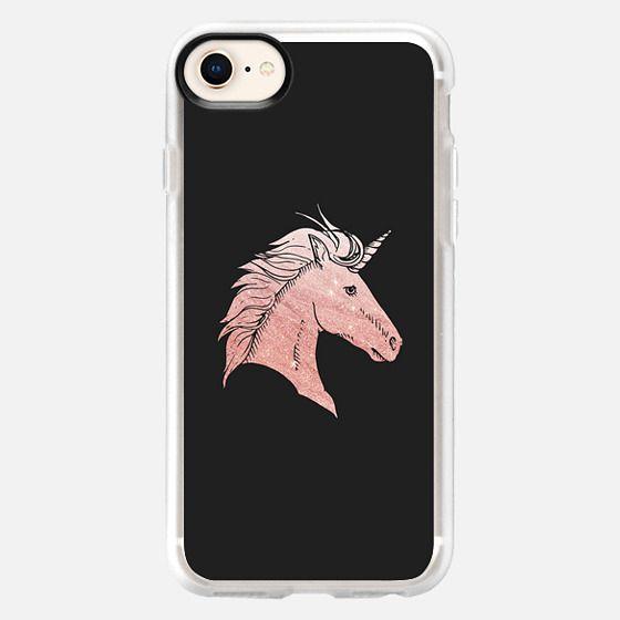Elegant faux rose gold black fantasy mystical unicorn - Snap Case