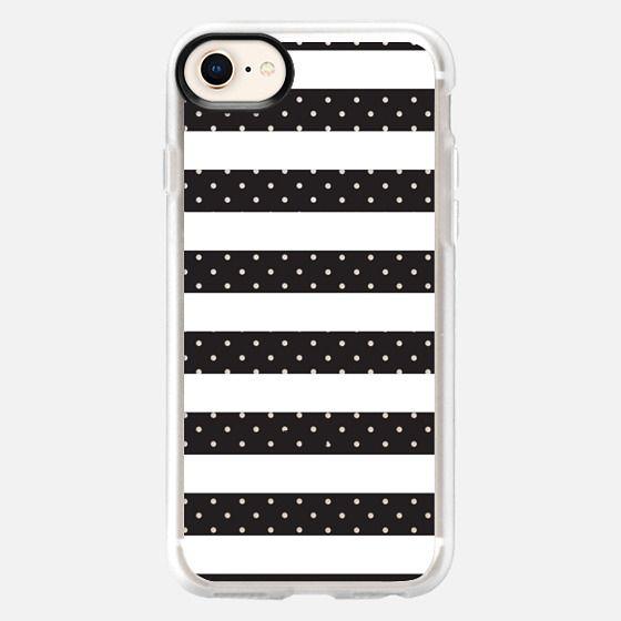 Modern black white girly hipster polka dots stripes - Snap Case