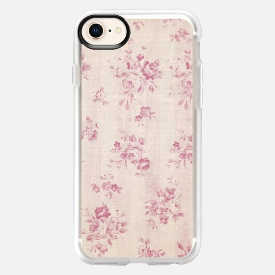 Elegant blush pink white rustic floral vintage stripes - Snap Case