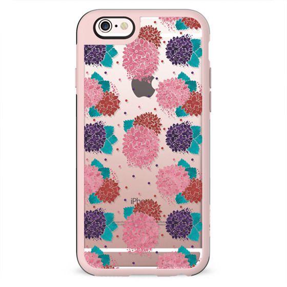 Blush pink purple watercolor hydrangea floral polka dots
