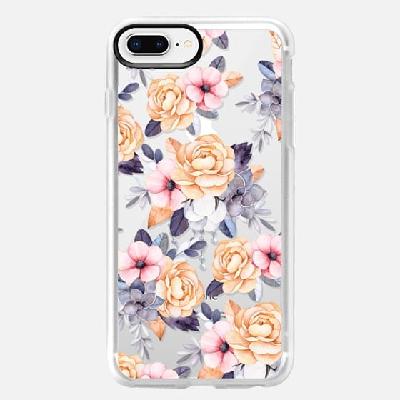 iPhone 8 Plus Case - Blush pink purple orange hand painted watercolor floral