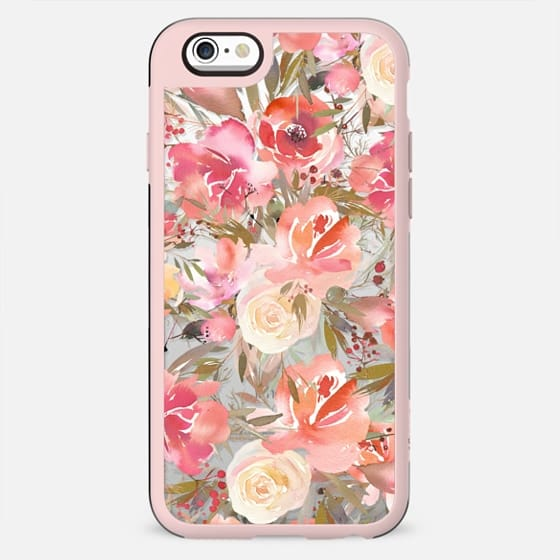 Blush pink coral white watercolor roses flowers
