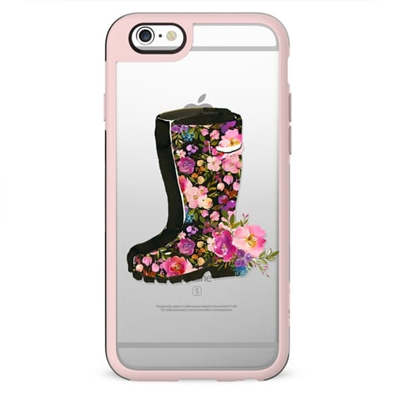 Boho pink lilac watercolor rubber boots floral