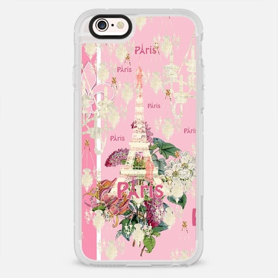 Vintage pink white Eiffel Tower Paris chandeleir collage - New Standard Case