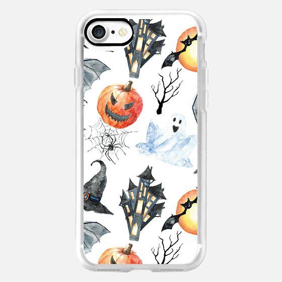Black orange white watercolor Halloween Pattern - Classic Grip Case