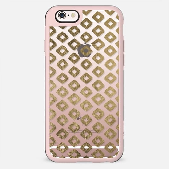 Elegant white faux gold foil geometric diamond pattern - New Standard Case