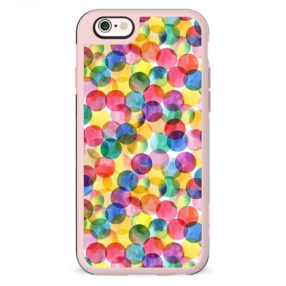 Colorful watercolor geometric polka dots pattern