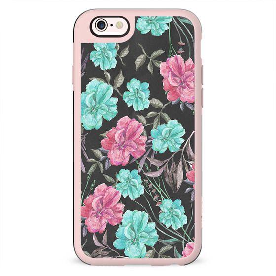 Botanical black pink teal watercolor floral