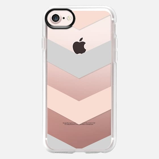 Modern blush pink gray geometric chevron - Classic Grip Case