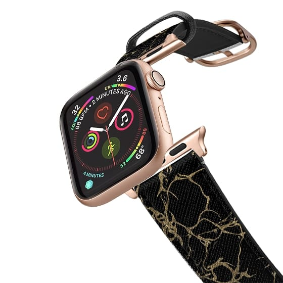 Apple Watch 38mm Bands - Stylish chic black gold foil marble pattern