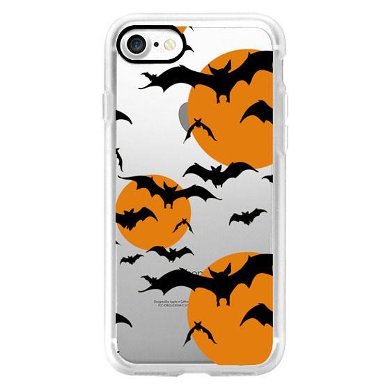 Black orange yellow halloween bats pattern