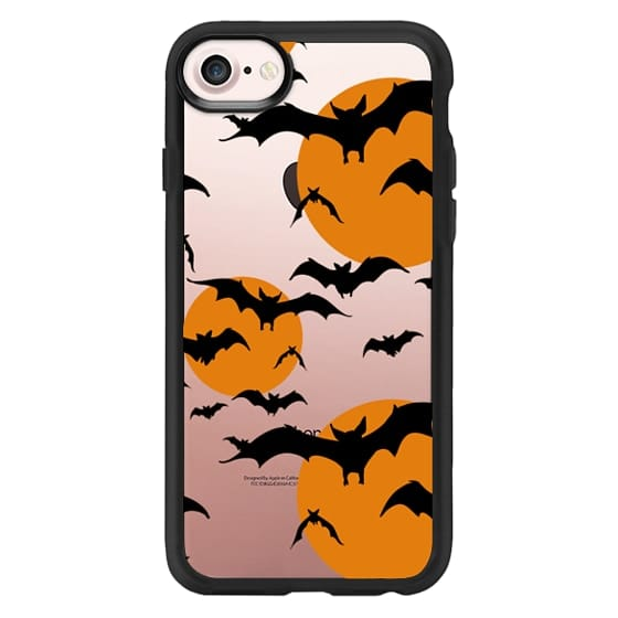 iPhone 7 Cases - Black orange yellow halloween bats pattern