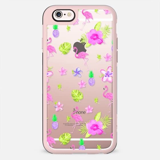 Modern tropical neon pink watercolor spring flowers cute flamingo