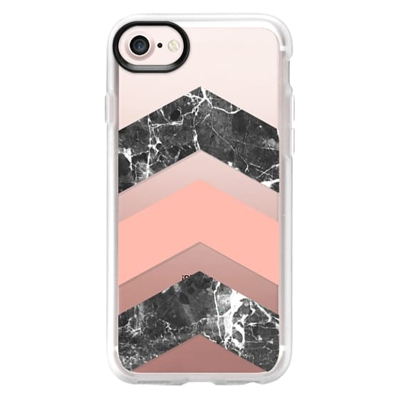 iPhone 7 Plus Cases - Modern coral black white watercolor chevron marble pattern