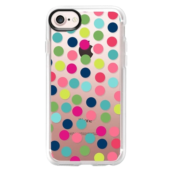 iPhone 7 Plus Cases - Modern hot pink coral teal hipster polka dots