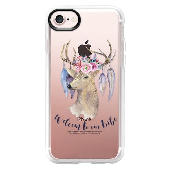 iPhone 6s Cases - Bohemian deer pink watercolor floral typography