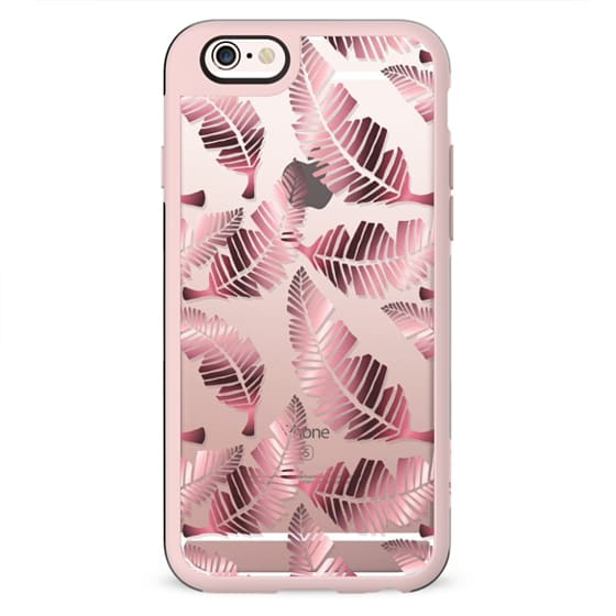 Modern mauve pink tropical summer leaves pattern