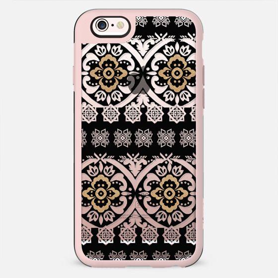 Modern black white faux gold glitter motif pattern