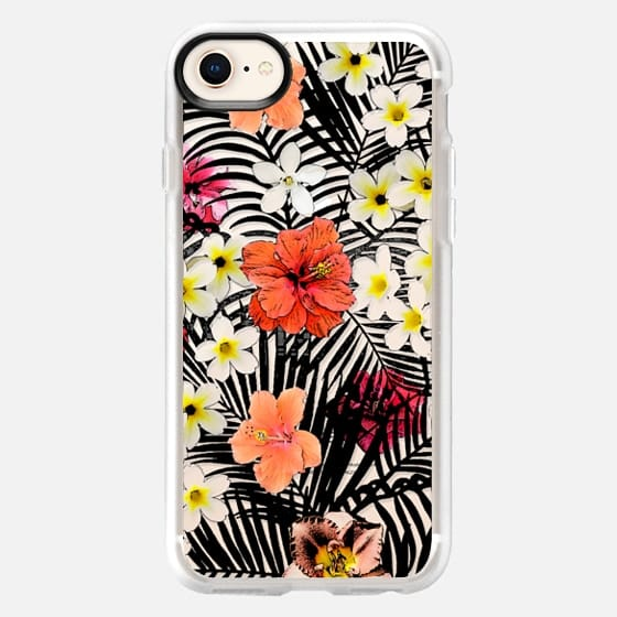 Colorful tropical black white pink flowers palm trees pattern - Snap Case