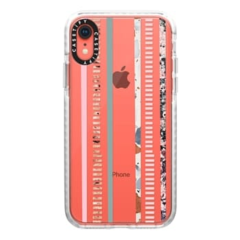 d52607b23a Impact iPhone XR Case Case - Modern elegant pink green color block marble  stripes