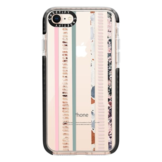 iPhone 8 Cases - Modern elegant pink green color block marble stripes