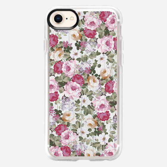 Vintage rustic white wood blush pink floral - Snap Case