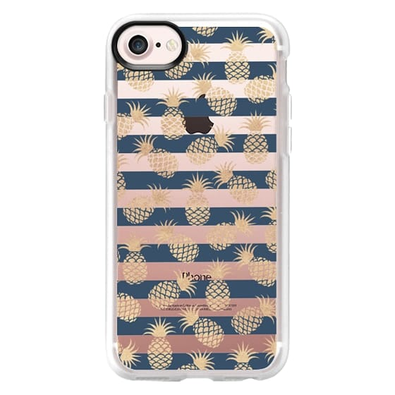 Nautical modern navy blue stripes blush beige pineapple