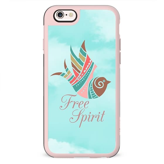 Modern turquoise white clouds aztec bird free spirit typography