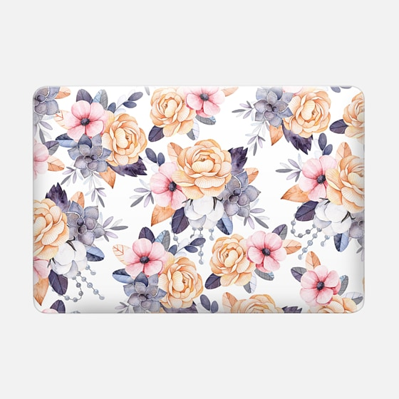 Macbook Air 13 保护壳 - Blush pink purple orange hand painted watercolor floral