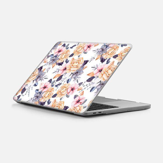 "Macbook Pro 13"" (2016 - 2017) Case - Blush pink purple orange hand painted watercolor floral"