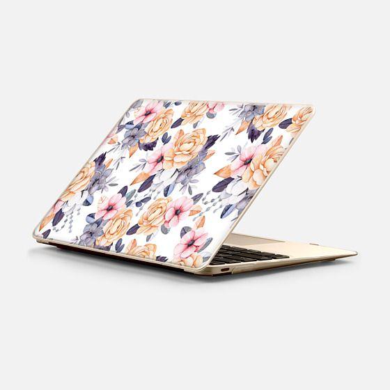 Macbook 12 Hülle - Blush pink purple orange hand painted watercolor floral