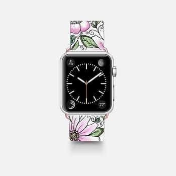 Apple Watch Band (42mm)  Blush pink green watercolor hand painted floral