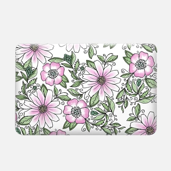 Blush pink green watercolor hand painted floral -