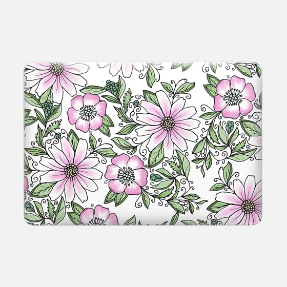 "Macbook Pro 13"" (2009 - 2012) Case - Blush pink green watercolor hand painted floral"