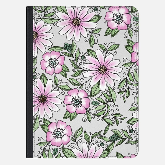 "iPad Pro 12.9"" Case - Blush pink green watercolor hand painted floral"