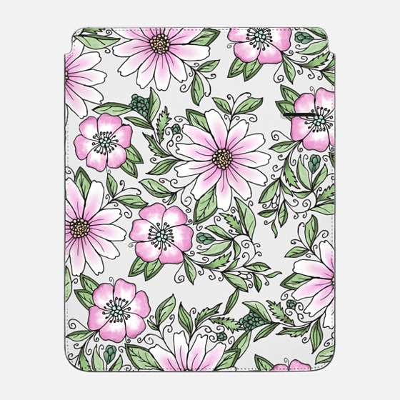 "iPad Pro 12.9"" Sleeve - Blush pink green watercolor hand painted floral"