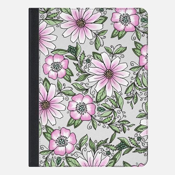 "iPad Pro 9.7"" Case - Blush pink green watercolor hand painted floral"