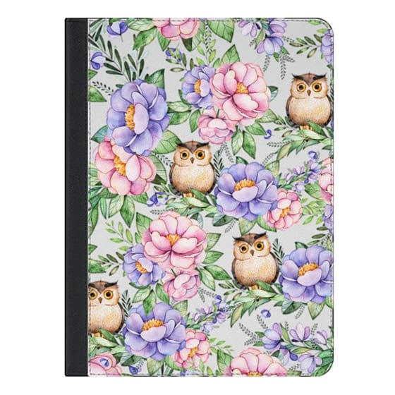 9.7-inch iPad Covers - Watercolor pink lavender brown floral cute owl