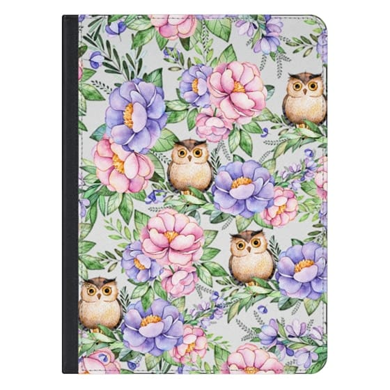 12.9-inch iPad Pro Covers - Watercolor pink lavender brown floral cute owl