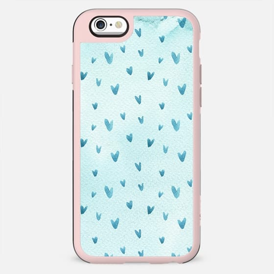 Hand painted pastel blue watercolor hearts pattern - New Standard Case