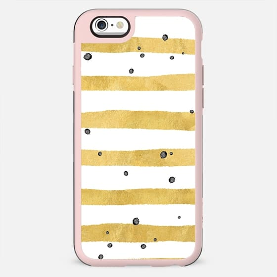 Modern hand painted yellow gold black watercolor splatters stripes - New Standard Case